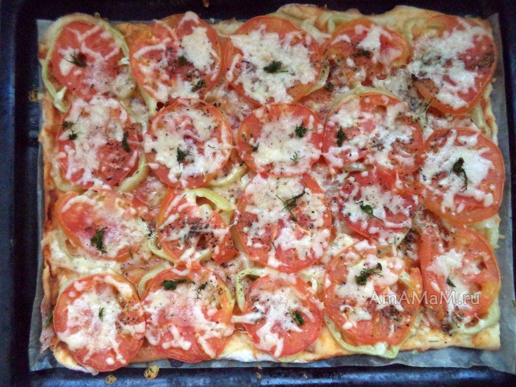 Рецепт пиццы с грудинкой, помидорами и перцем с фото