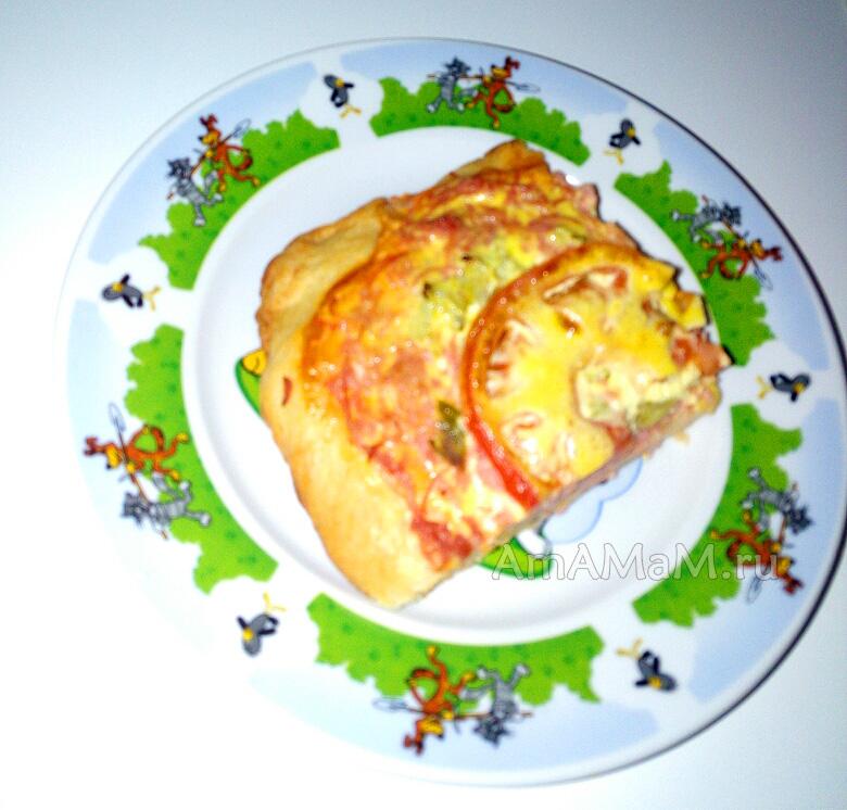 Кусочек вкусной пиццы домашнего рпиготовления, тесто на майонезе