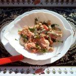 Салат со свининой, солеными огурчиками и опятами