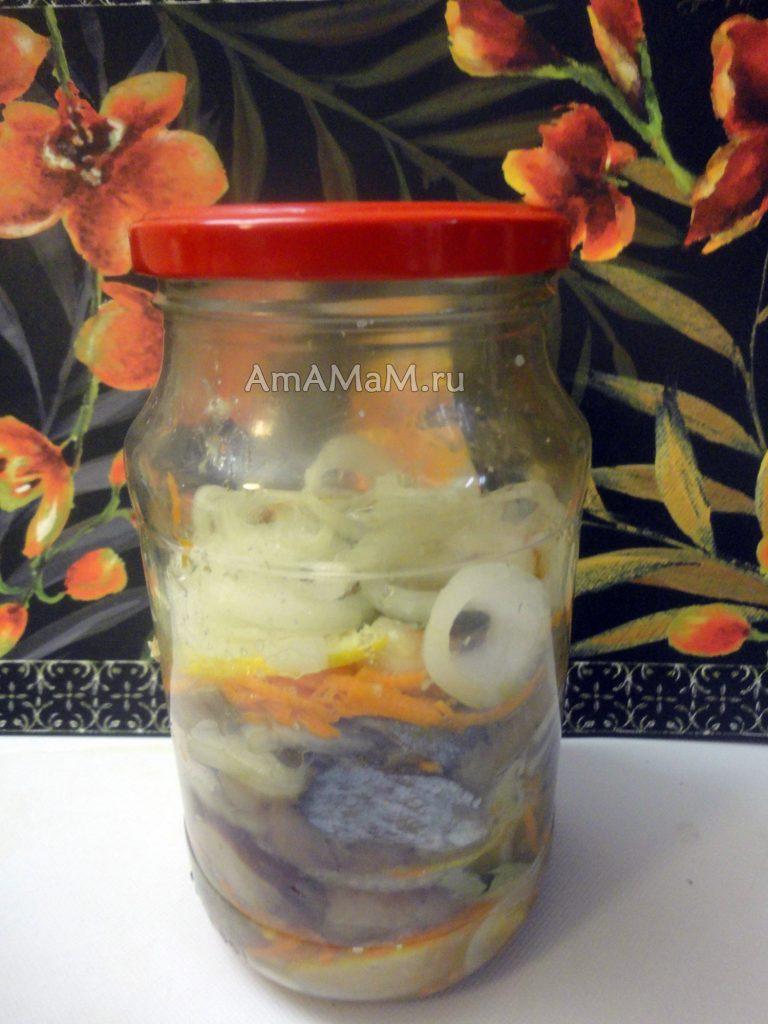 Маринованная селедка с луком и морковкой в банке