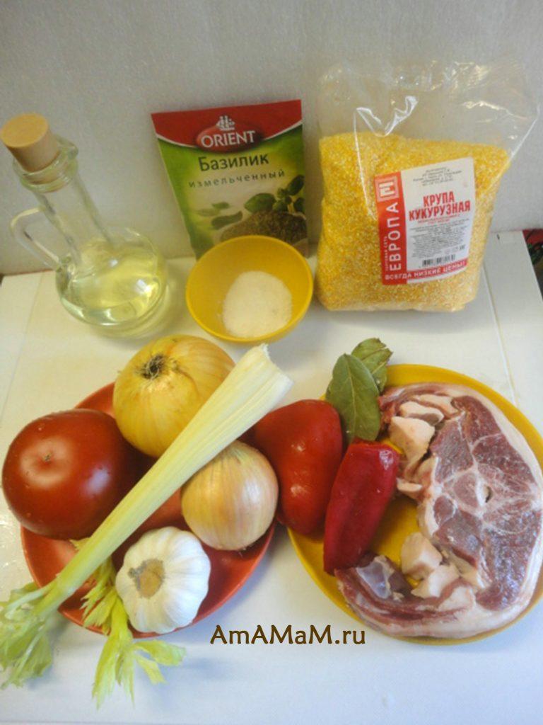Ингредиенты супа с бараниной и кукурузной крупой