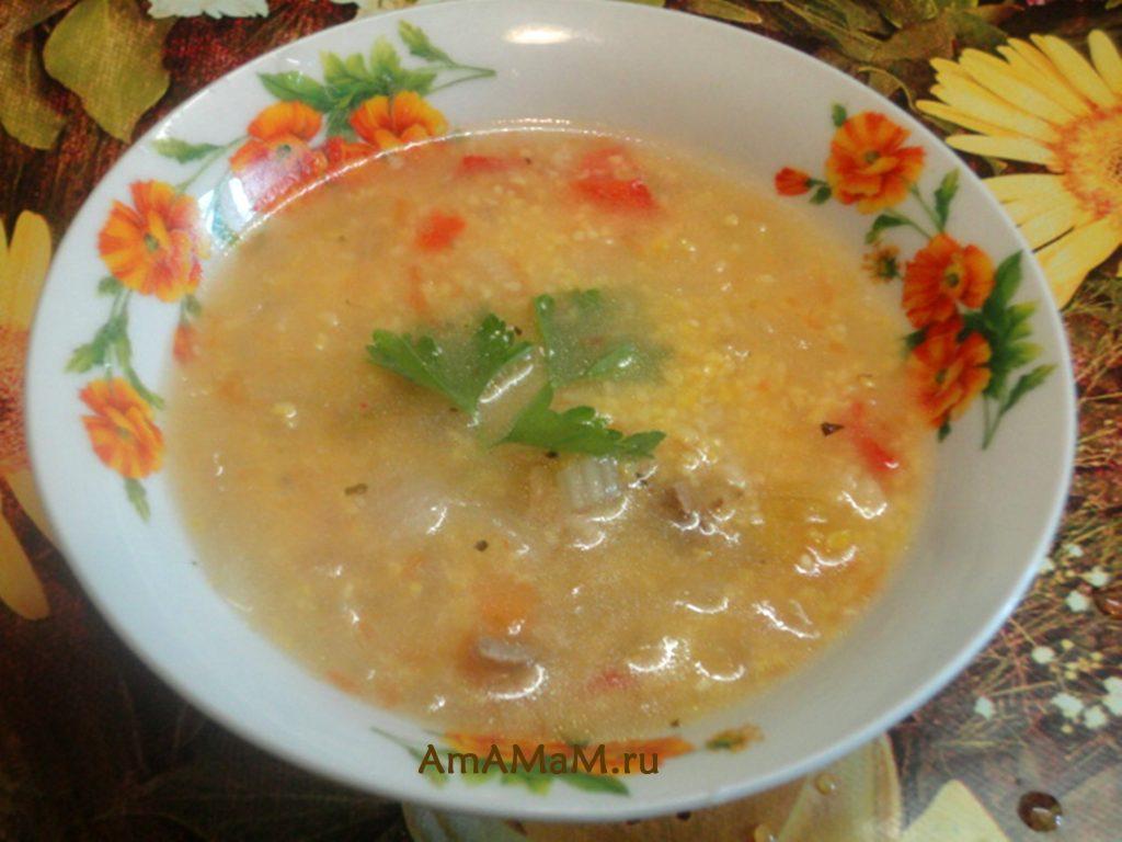 Вкусный суп на баранине с кукурузной крупой