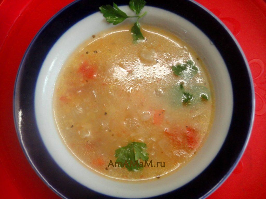 Суп на мясном бульоне из баранины с овощами и кукурузной крупой