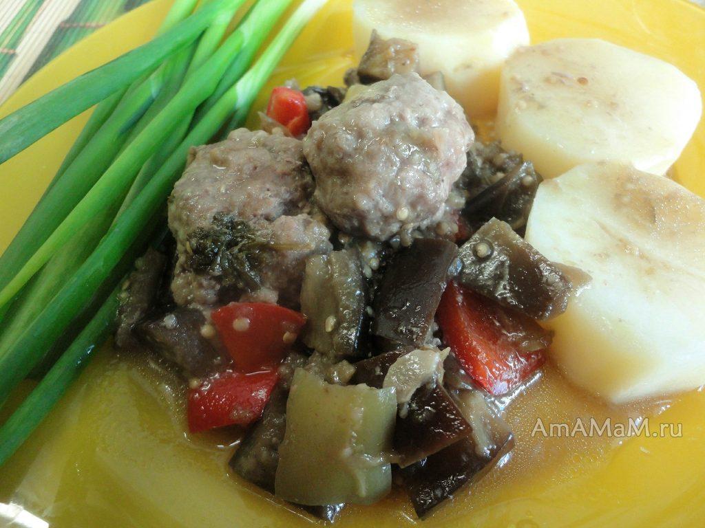 Рецепт вкусных тушеных баклажанов с перцем и тефтельками