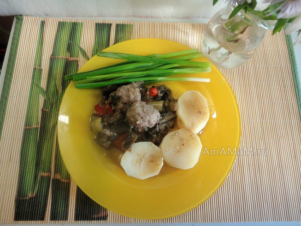 Рецепт баклажанов по-французски с фрикадельками