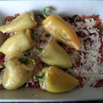Перец фаршированный и запеканка из овощей