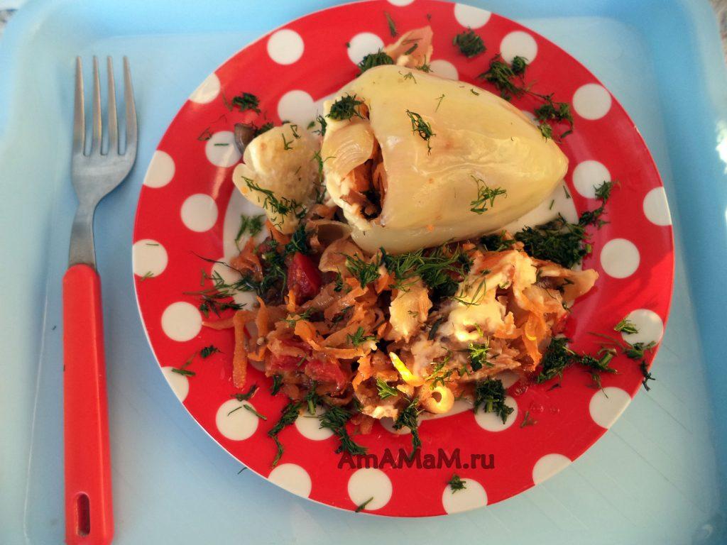 Приготовление перца в духовке (начинка - овощи и макароны)