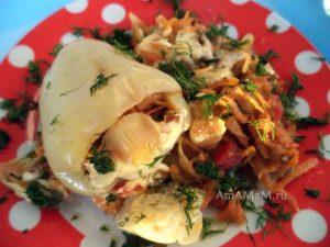 Перец с макаронами и овощами- рецепт и фото