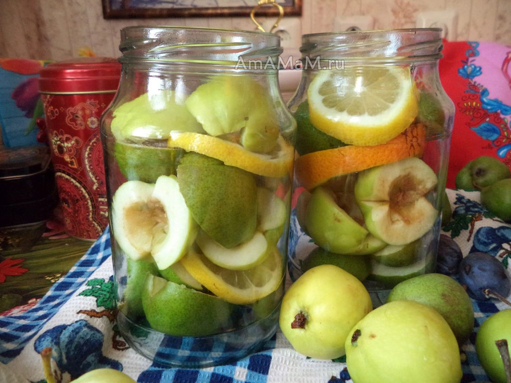 Грушево-яблочный компот с апельсинами - приготовление на зиму