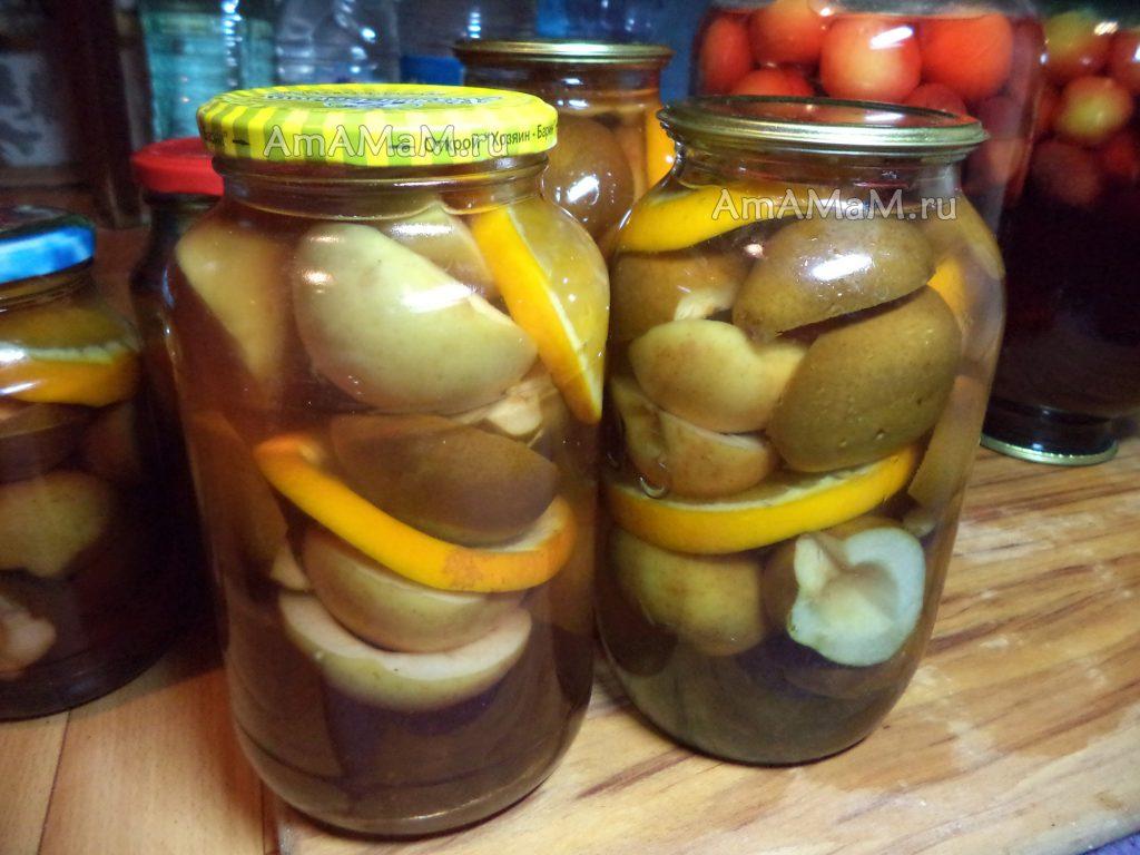 Рецепт грушевого компота с яблоками