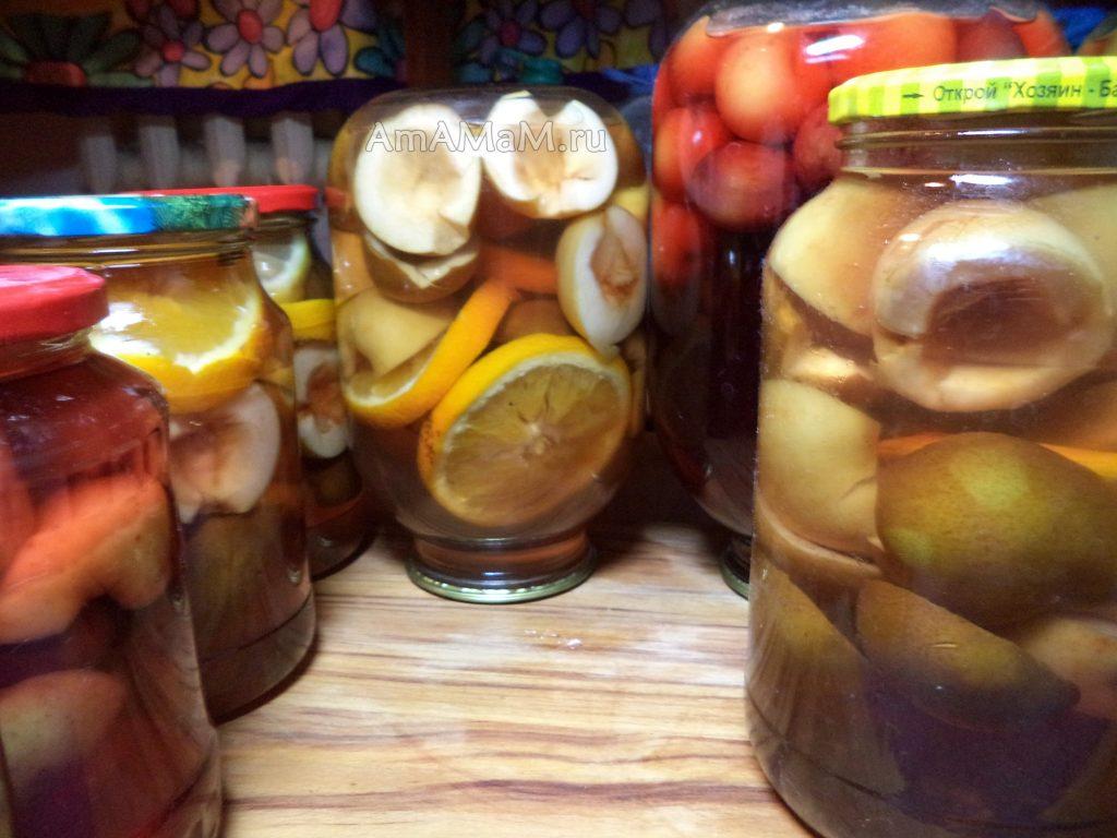 Компот грушево-яблочный на зиму - простой рецепт без стерилизации