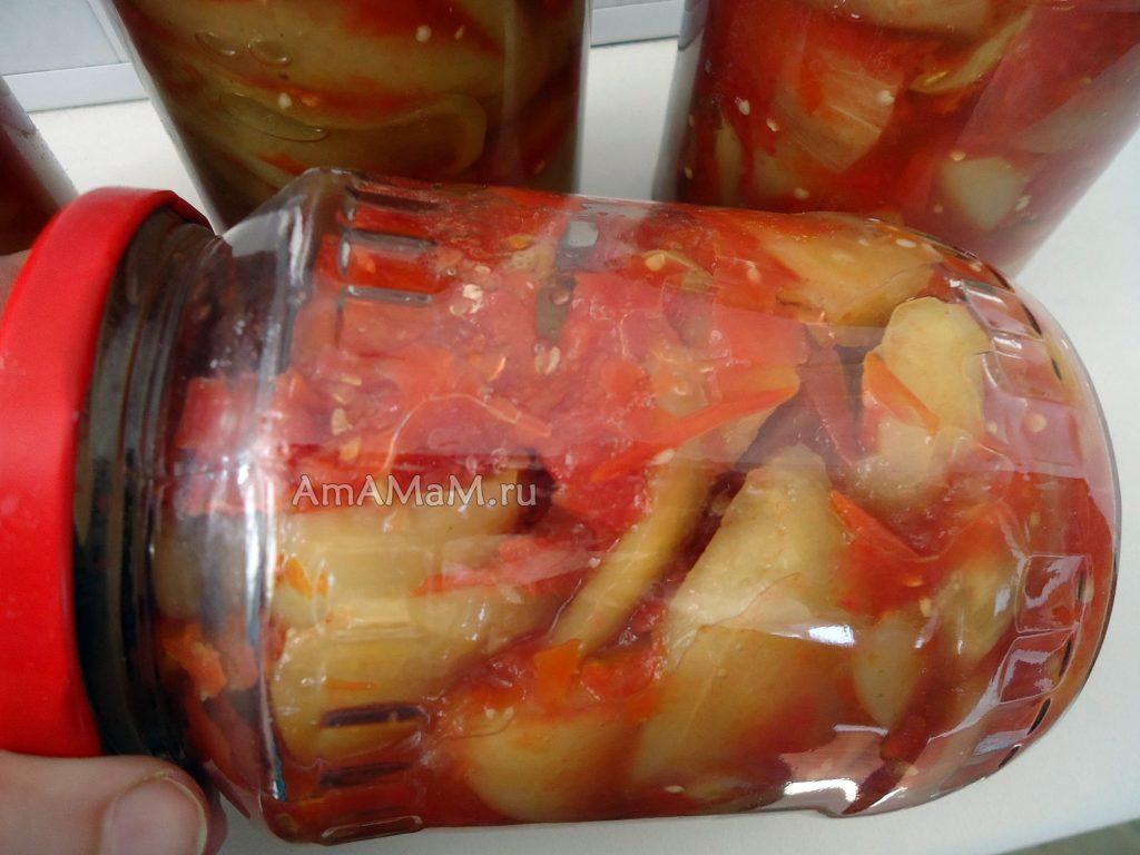 Приготовление баклажанов в томате на зиму - рецепт с фото