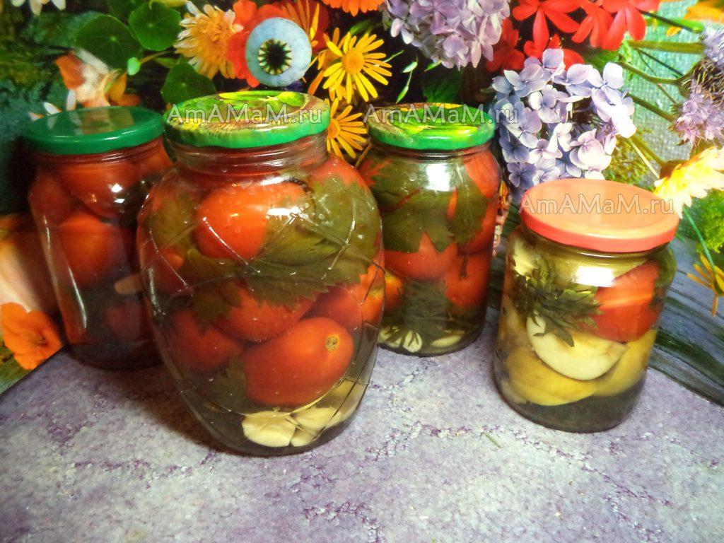 Банки с заготовками (помидоры)