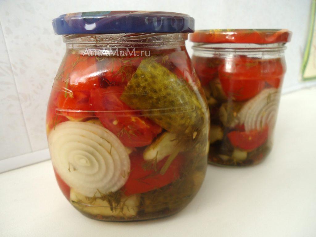 Салат огурцы-помдиоры на зиму- рецепт консервирования