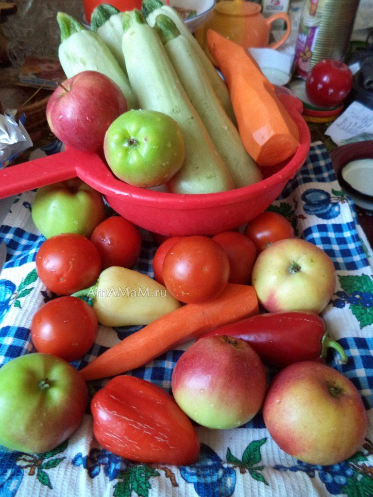 Состав продуктов для консервирования кабачков в томате