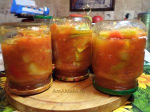 Банки с кабачками - рецепт салата на зиму