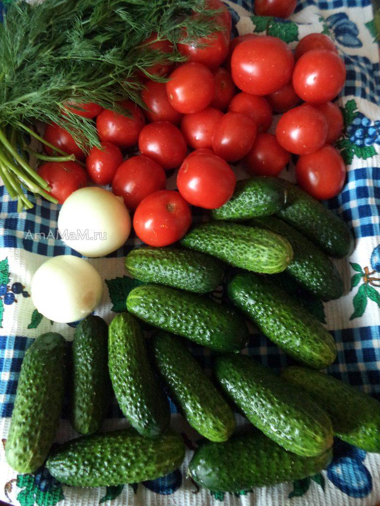 Маринованные овощи - салат из помидоров и огурцов