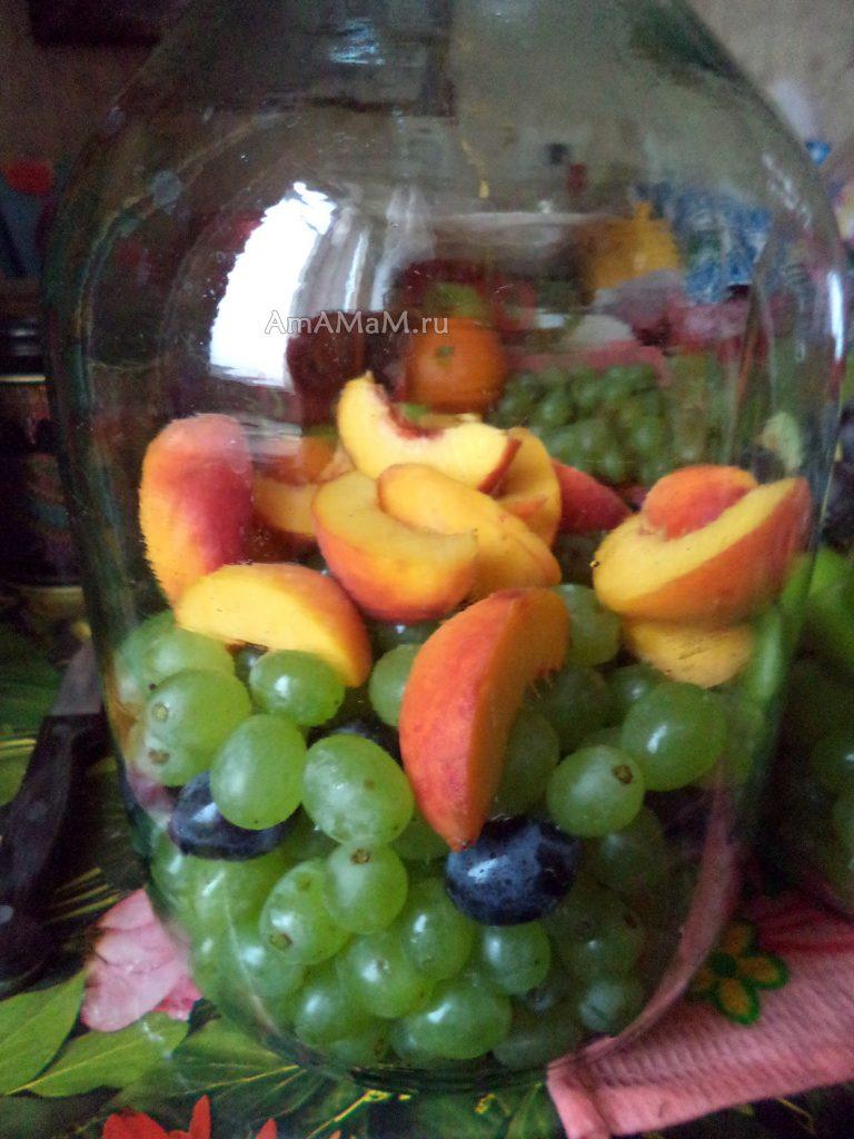 Виноград с персиками - рецепт компота на зиму