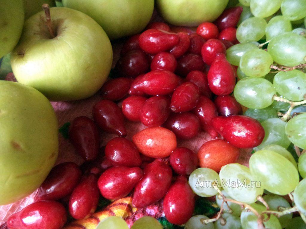 Яблоки, виноград и кизил - фото и рецепты