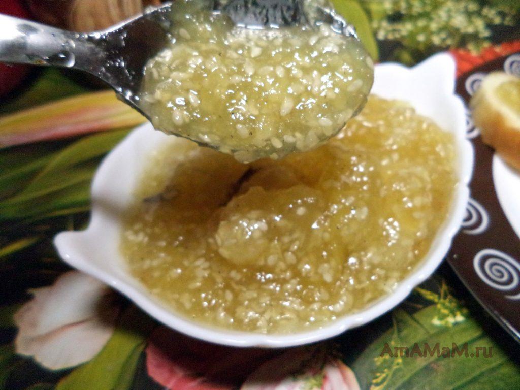 Яблочное варенье с кунжутом - рецепт десерта