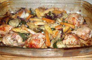 Рецепт курицы с кабачками, морковкой, луком и брюквой
