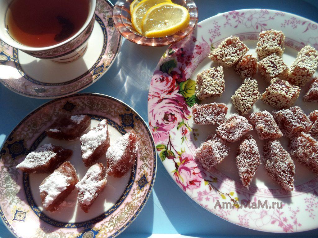 Чай с лимоном и мармеладом