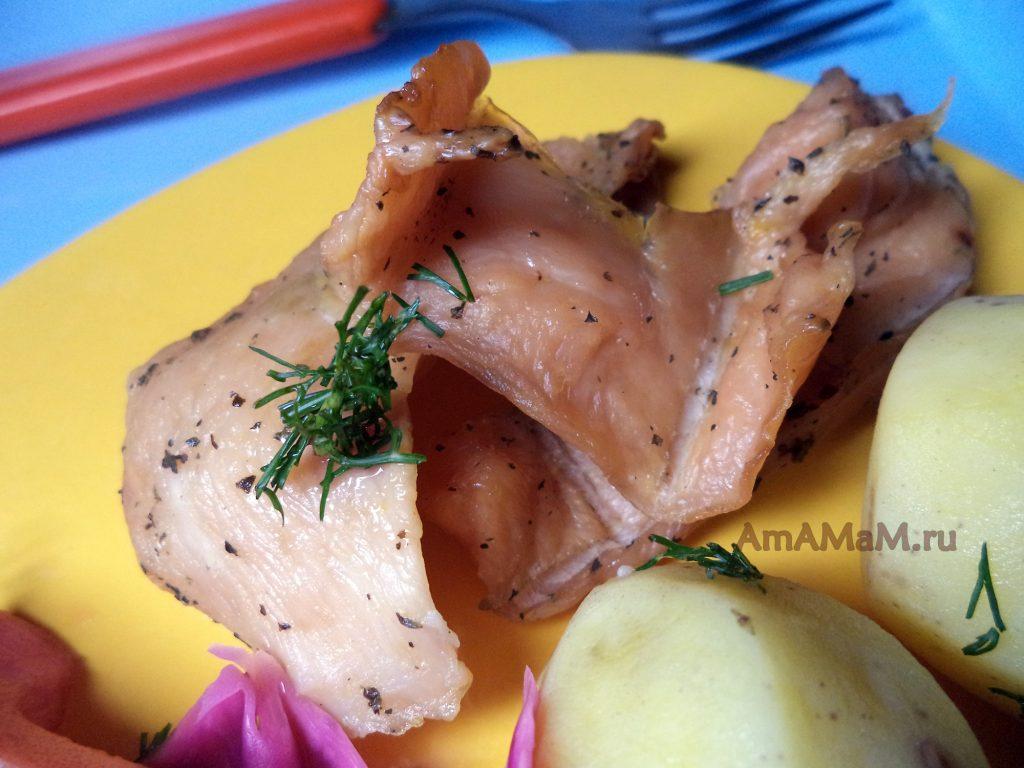 Рецепт мясных чипсов из филе грудки в апельсиновом маринаде