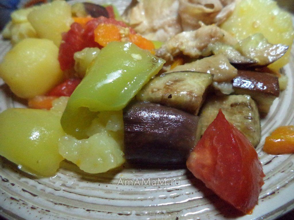 Овощи с курицей - рецепт
