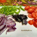 Салат со спагетти - овощная начинка