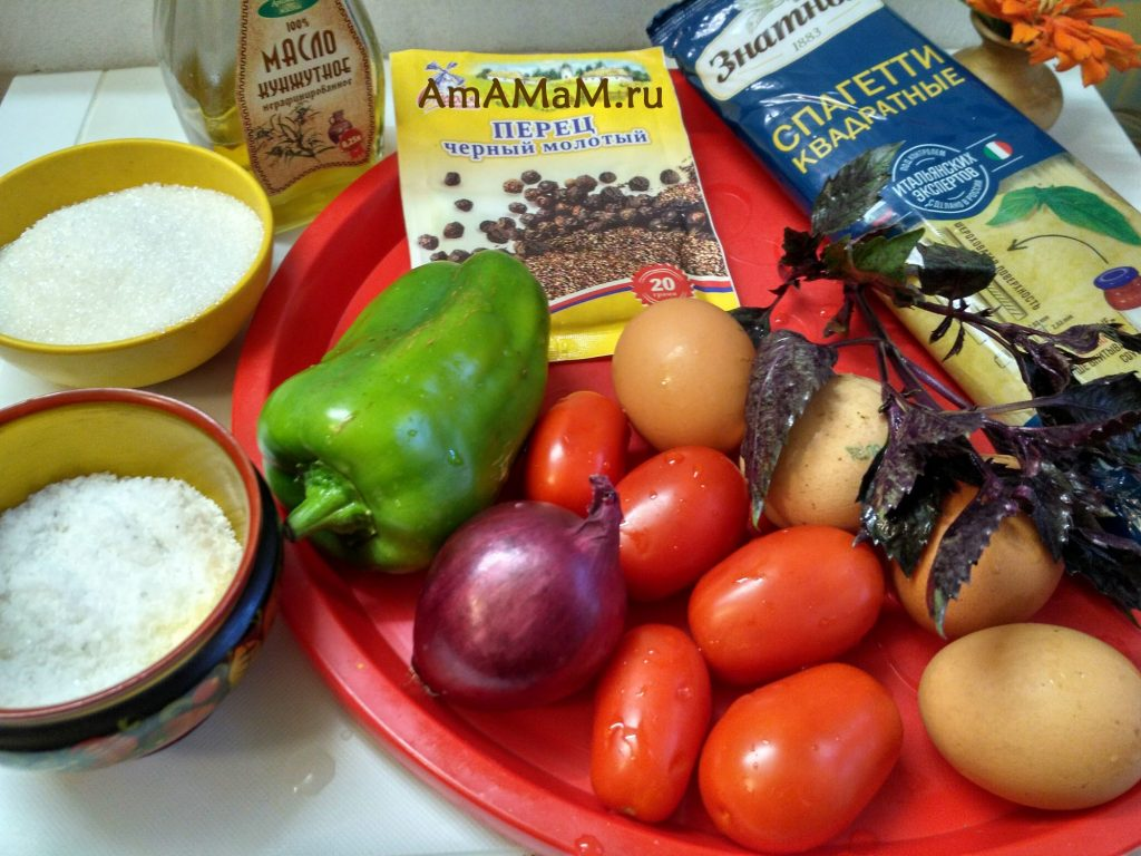 Ингредиенты салата со спагетти