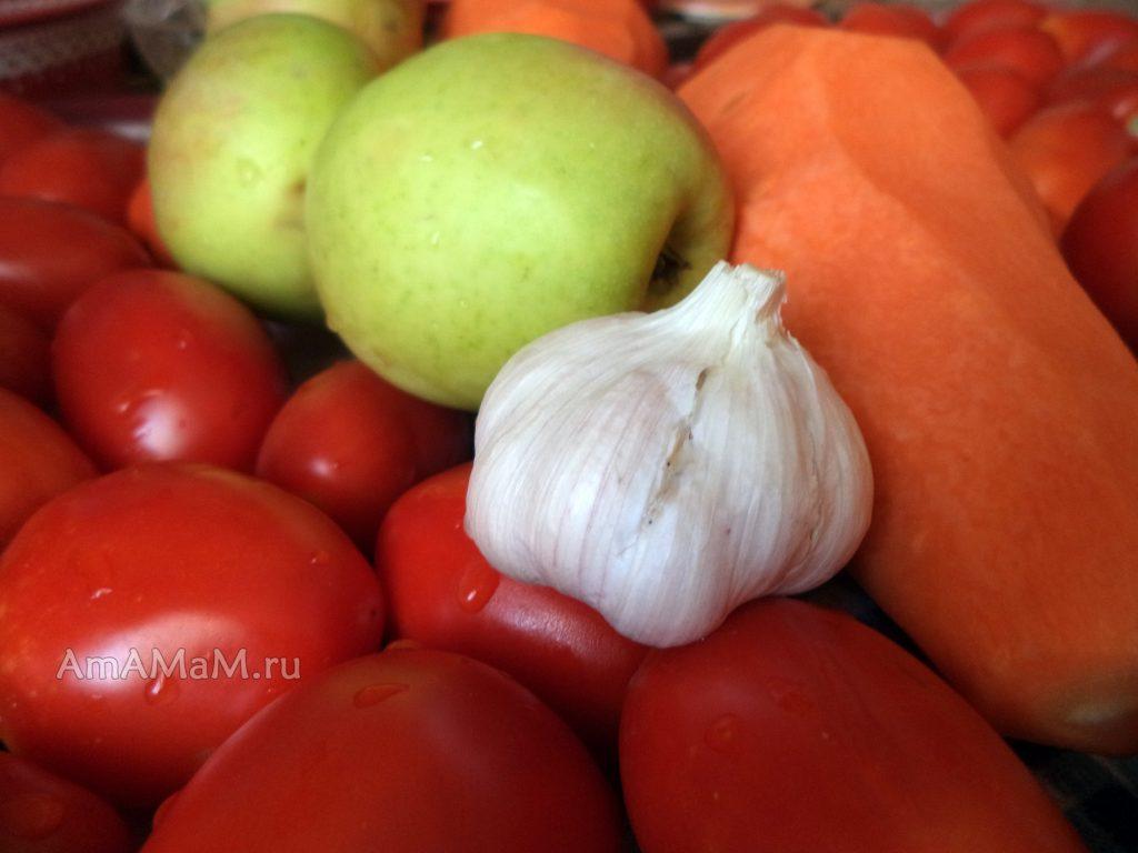 ПРиготовление томатного соуса - состав овощей