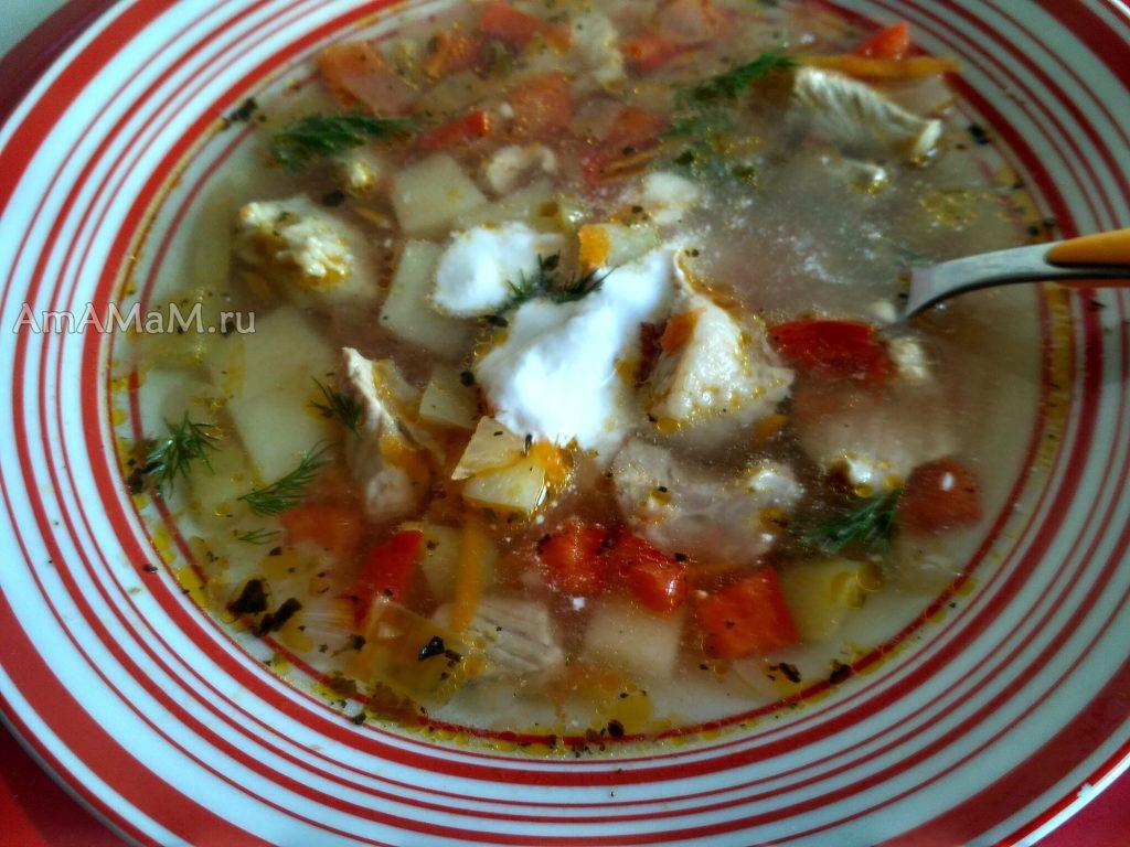 Суп томатный со свининой и сметаной