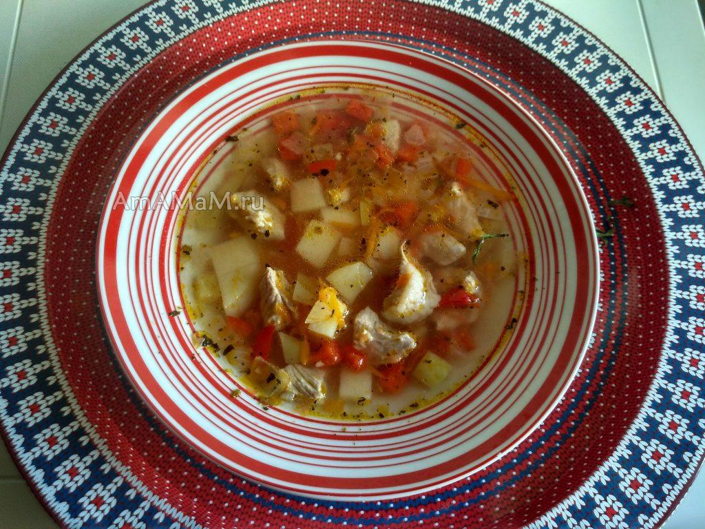 Томатный суп на мясном бульоне из свинины