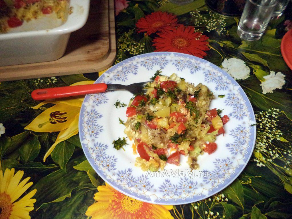 Вкусная запеканка из овощей с вермишелью - рецепт с фото