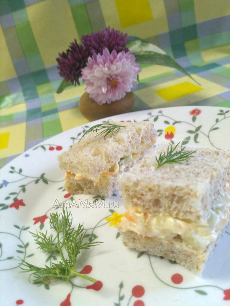 Вкусные бутерброды с огурцом и морковкой - рецепт с фото