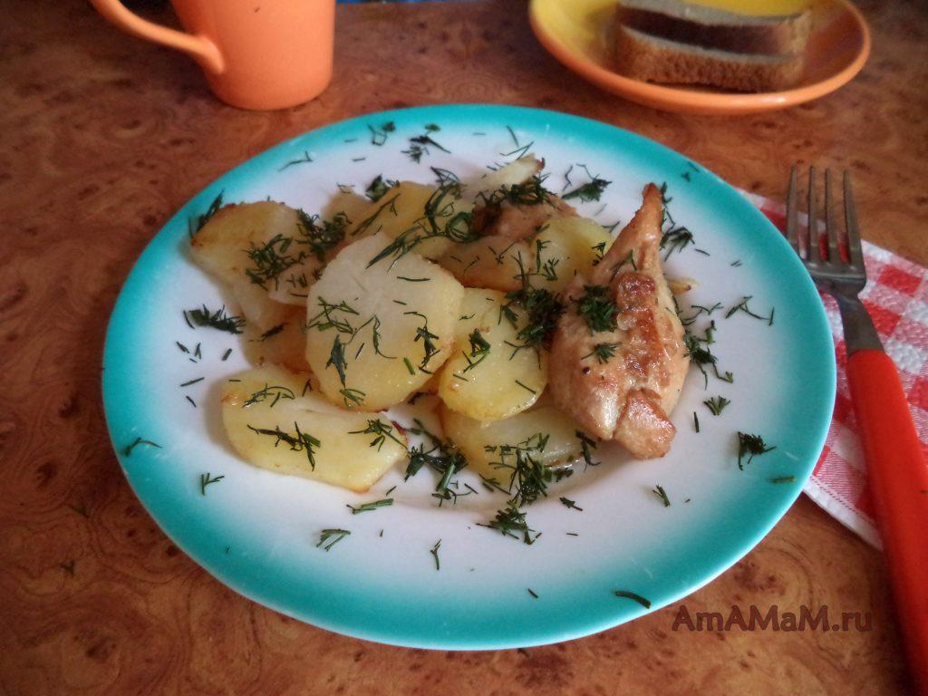 Картошка с курицей в соевом соусе