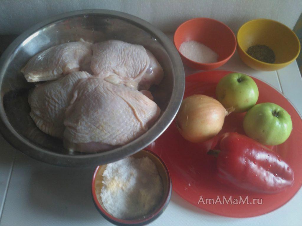 Ингредиенты блюда из куриных бедрышек