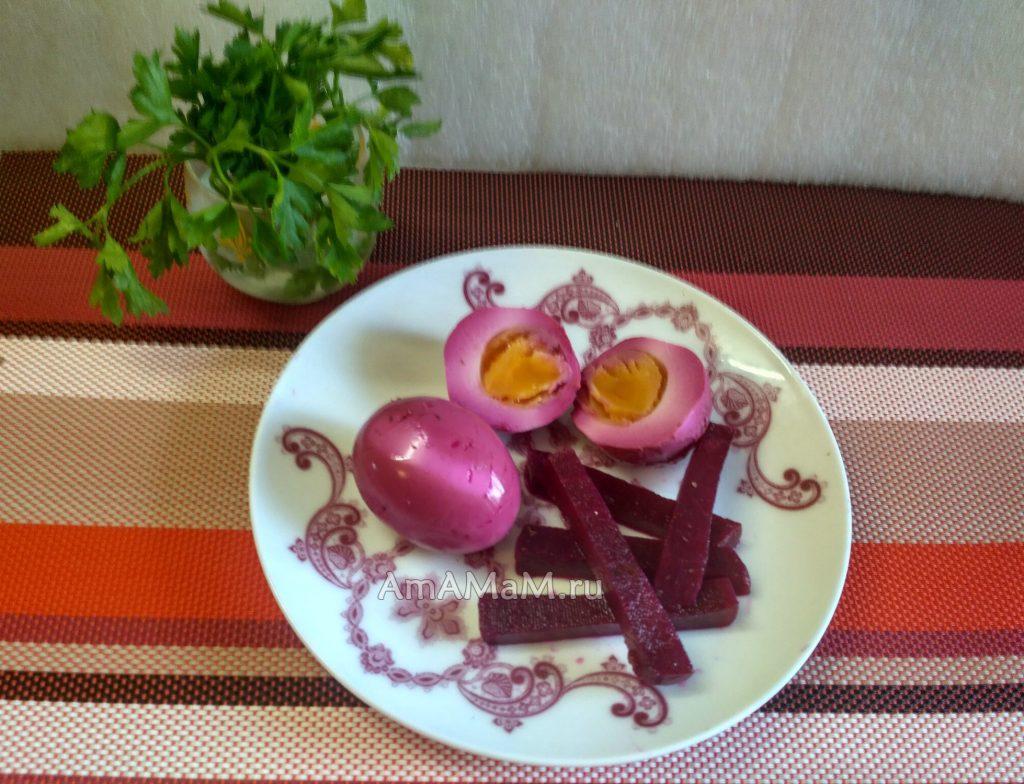 Маринованная свекла и яйца