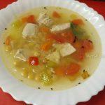 Суп из нута с куриной грудкой и тертым картофелем