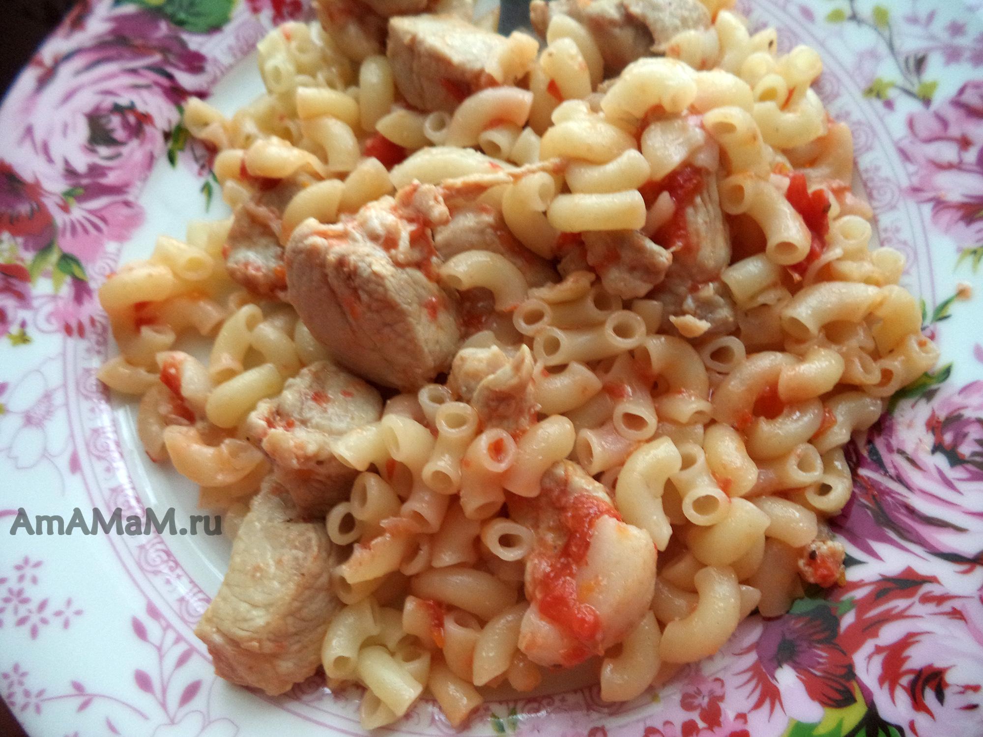 Рецепт макароны с свининой тушеной