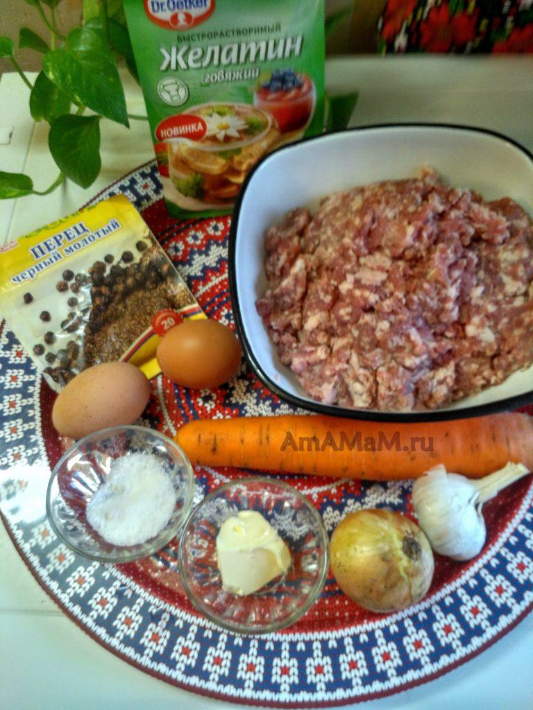 Террин мясной из фарша - состав продуктов