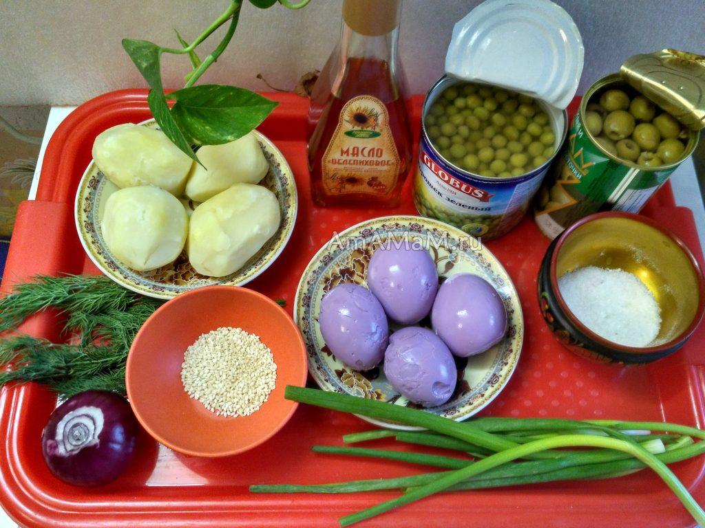 Сиреневые маринованные яйца - салат