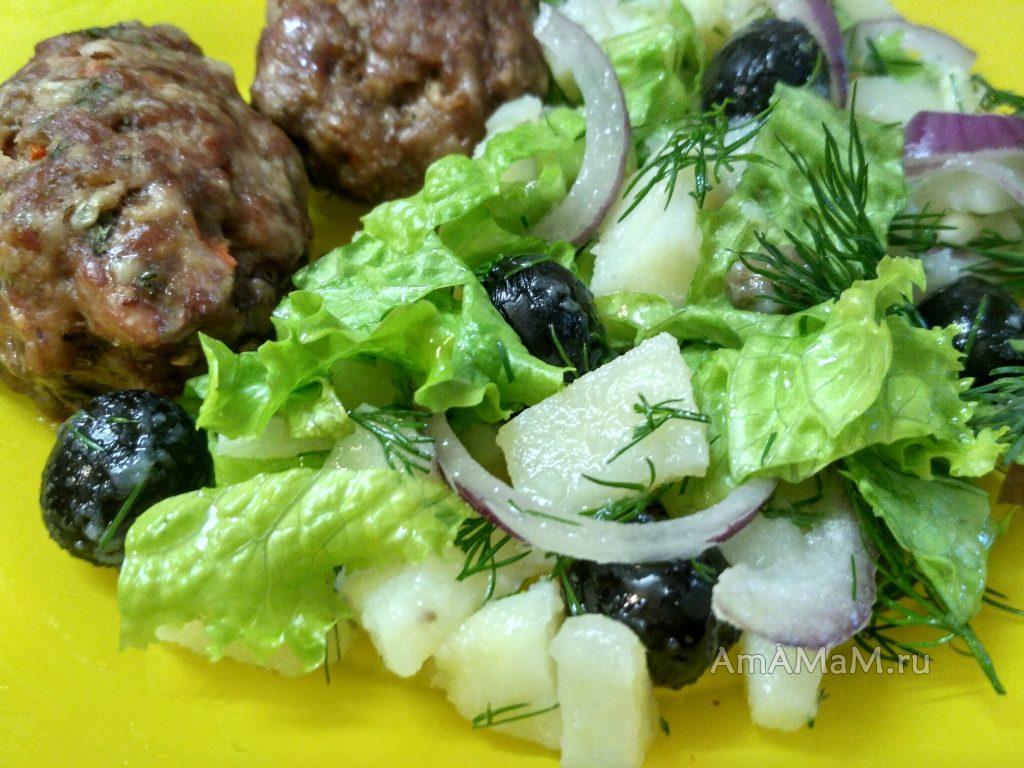 Картофельный салат и котлеты - вкусный ужин