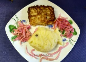 Палтус - филе в кляре и картофельное пюре