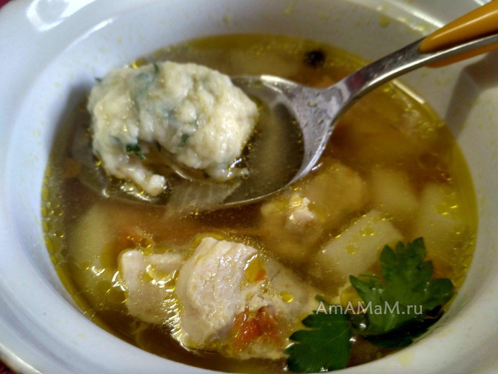 Суп из грудки с галушками