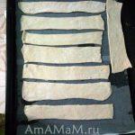 Слоеное тесто в нарезке полосками для Наполеона
