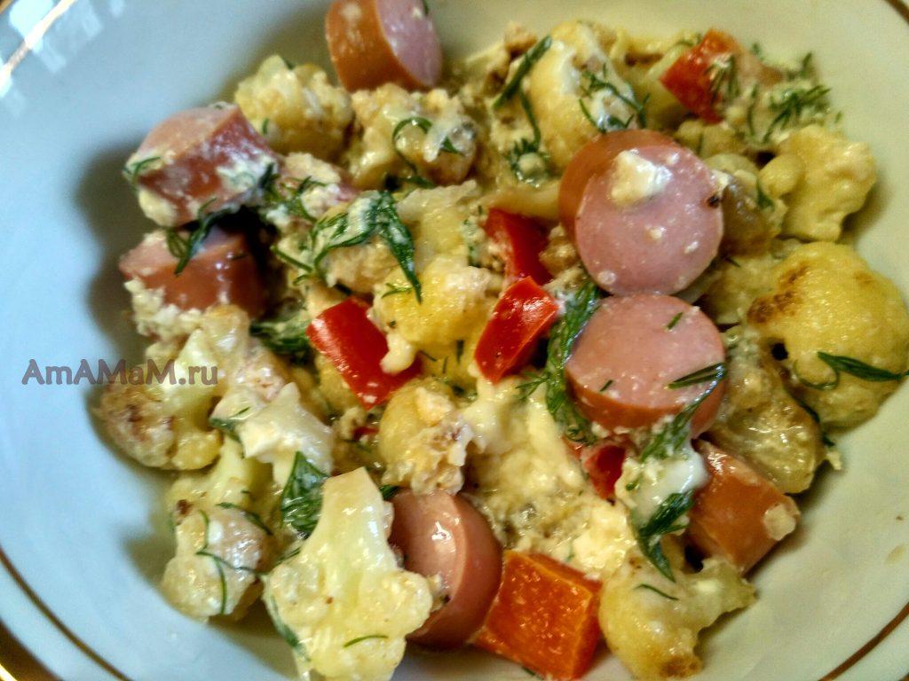 Блюдо из цветной капусты с сосисками и яйцами - простое и вкусное рагу