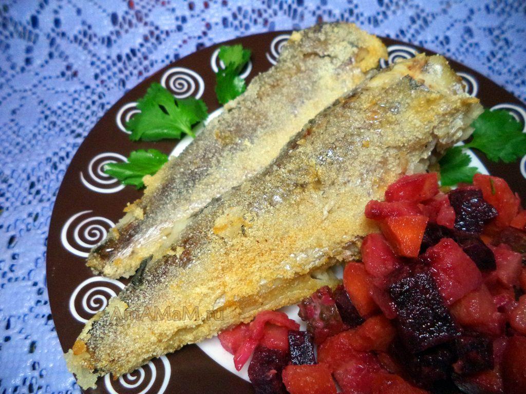 Жареная рыба с винегретом