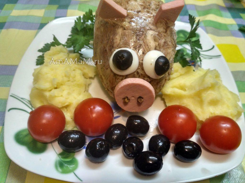 Свиной холодец в виде пятачка