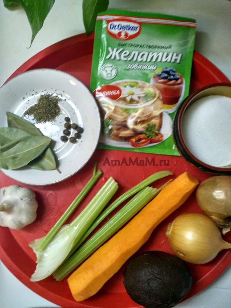 Набор продуктов для холодца из рульки и окорочков - делаем поросенка